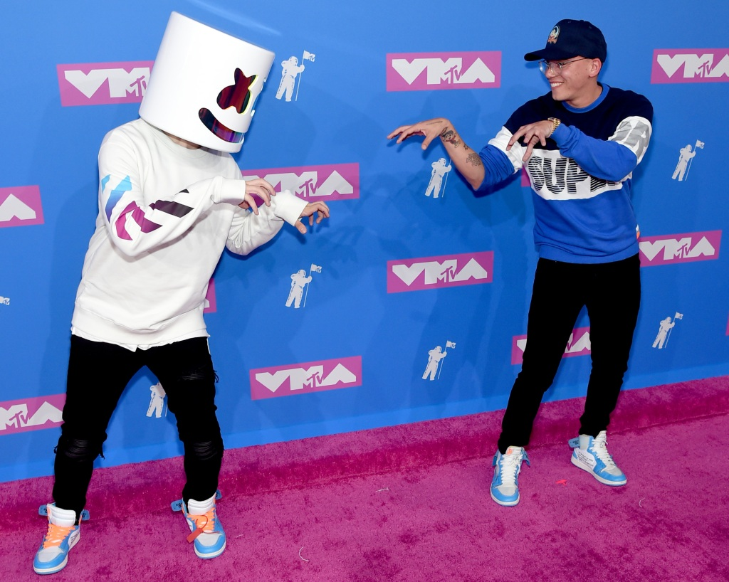 Marshmello and Logic attends the 2018 MTV Video Music Awards at Radio City Music Hall on August 20, 2018 in New York City. (Photo by Jamie McCarthy/Getty Images)