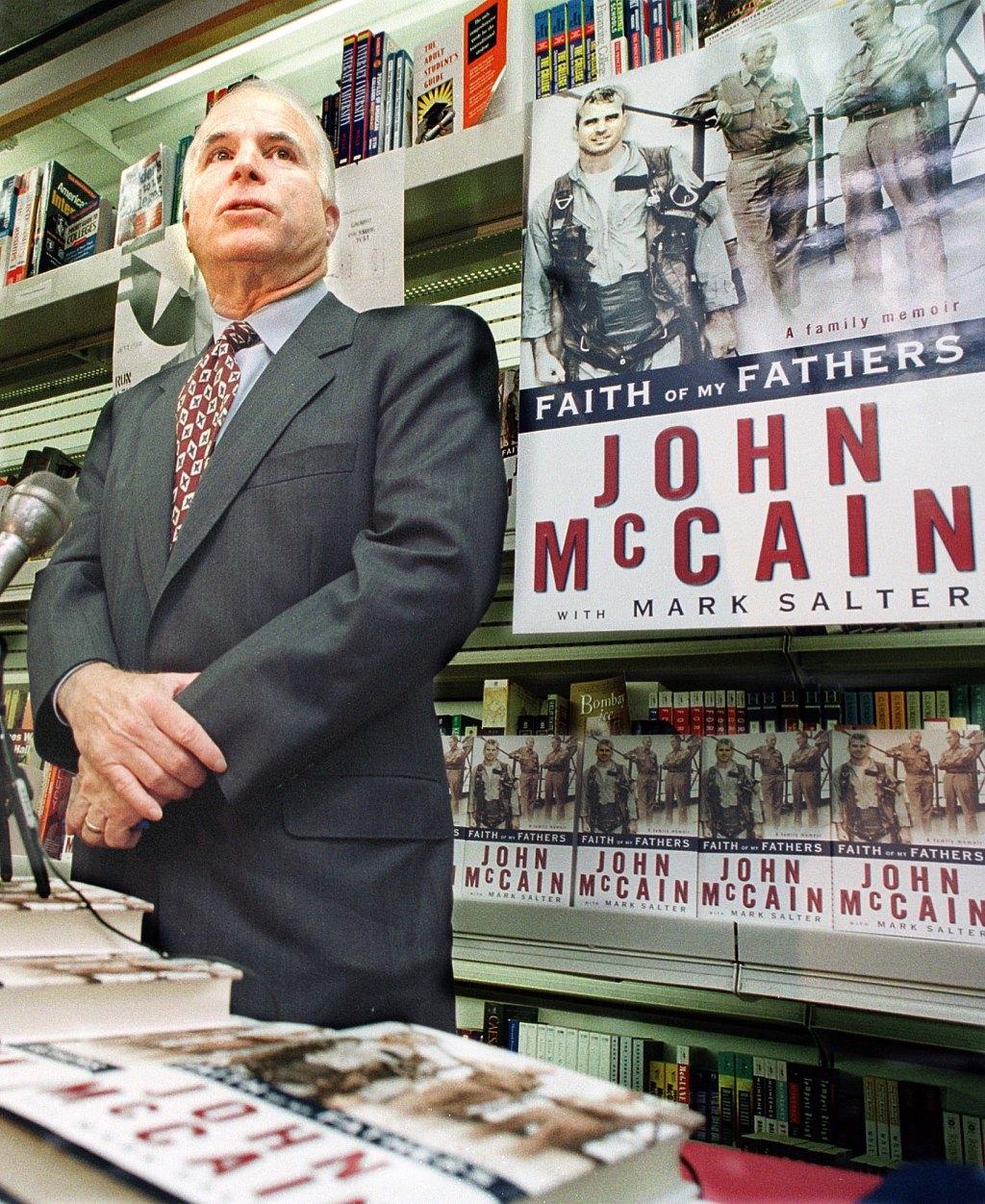Republican presidential hopeful Sen. John McCain, R-Ariz., speaks to the media before a book signing in Washington, D.C., September 13, 1999.
