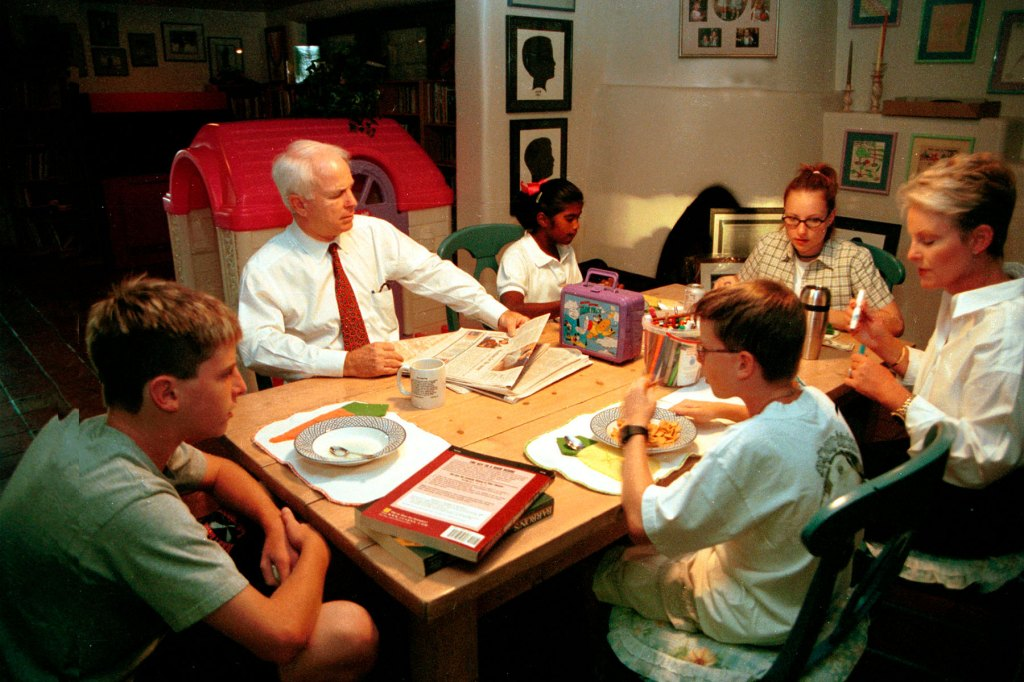 Presidential candidate John McCain with wife Cindy in their home in Phoenix, Arizona with their children. The oldest daughter is Meghan, their adopted daughter is Bridgette and their two sons Jack and Jimmy, October 14, 1999.