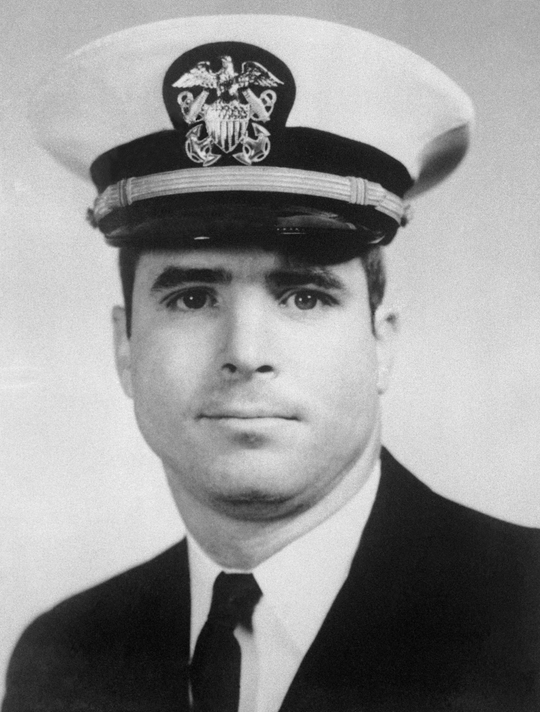 (Original Caption) North Vietnamese claimed to have shot down and captured U.S. Navy flier Lt. Commander John Sydney McCain, shown in file photo, son of Adm. John S. McCain, Jr., Commander of American Naval Forces in Europe. He was said to have been aboard a two-man F4 Phantom fighter shot down by a surface to air missile over Hanoi.