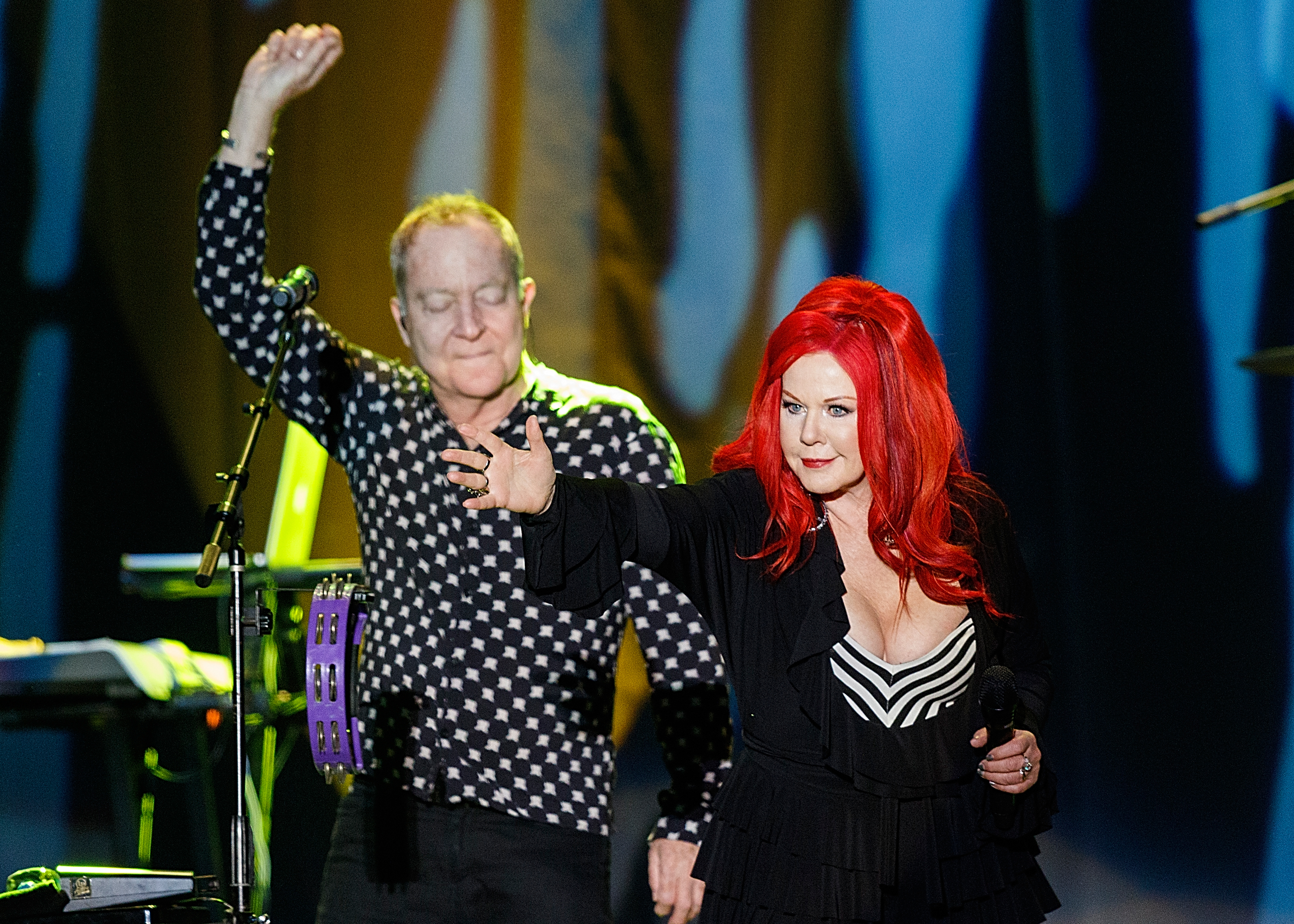 VANCOUVER, BC - AUGUST 30:  (L-R) Fred Schneider and Kate Pierson of The B-52s perform on stage during Summer NIght Concert Series at PNE Amphitheatre on August 30, 2017 in Vancouver, Canada.  (Photo by Andrew Chin/Getty Images)