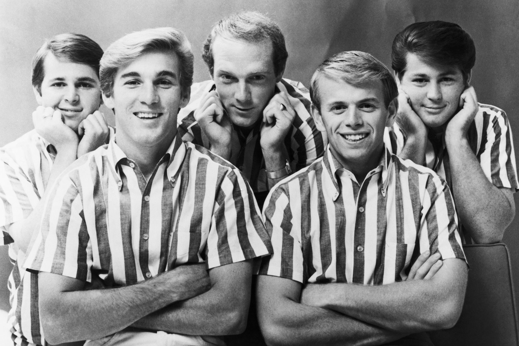 41953407 The Beach Boys pose for a portrait in 1964. From left to right, Carl  Wilson, Dennis Wilson, Mike Love, Al Jardine and Brian Wilson.