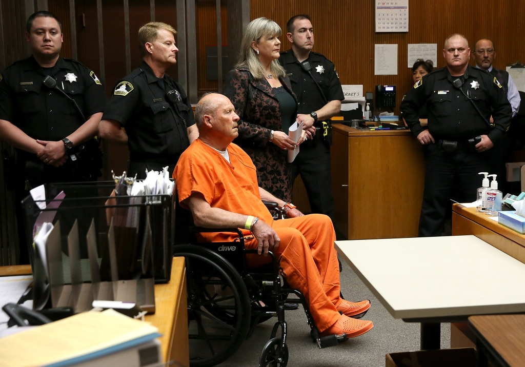 "SACRAMENTO, CA - APRIL 27: Joseph James DeAngelo, the suspected ""Golden State Killer"", appears in court for his arraignment on April 27, 2018 in Sacramento, California. DeAngelo, a 72-year-old former police officer, is believed to be the East Area Rapist who killed at least 12 people, raped over 45 women and burglarized hundreds of homes throughout California in the 1970s and 1980s. (Photo by Justin Sullivan/Getty Images)"