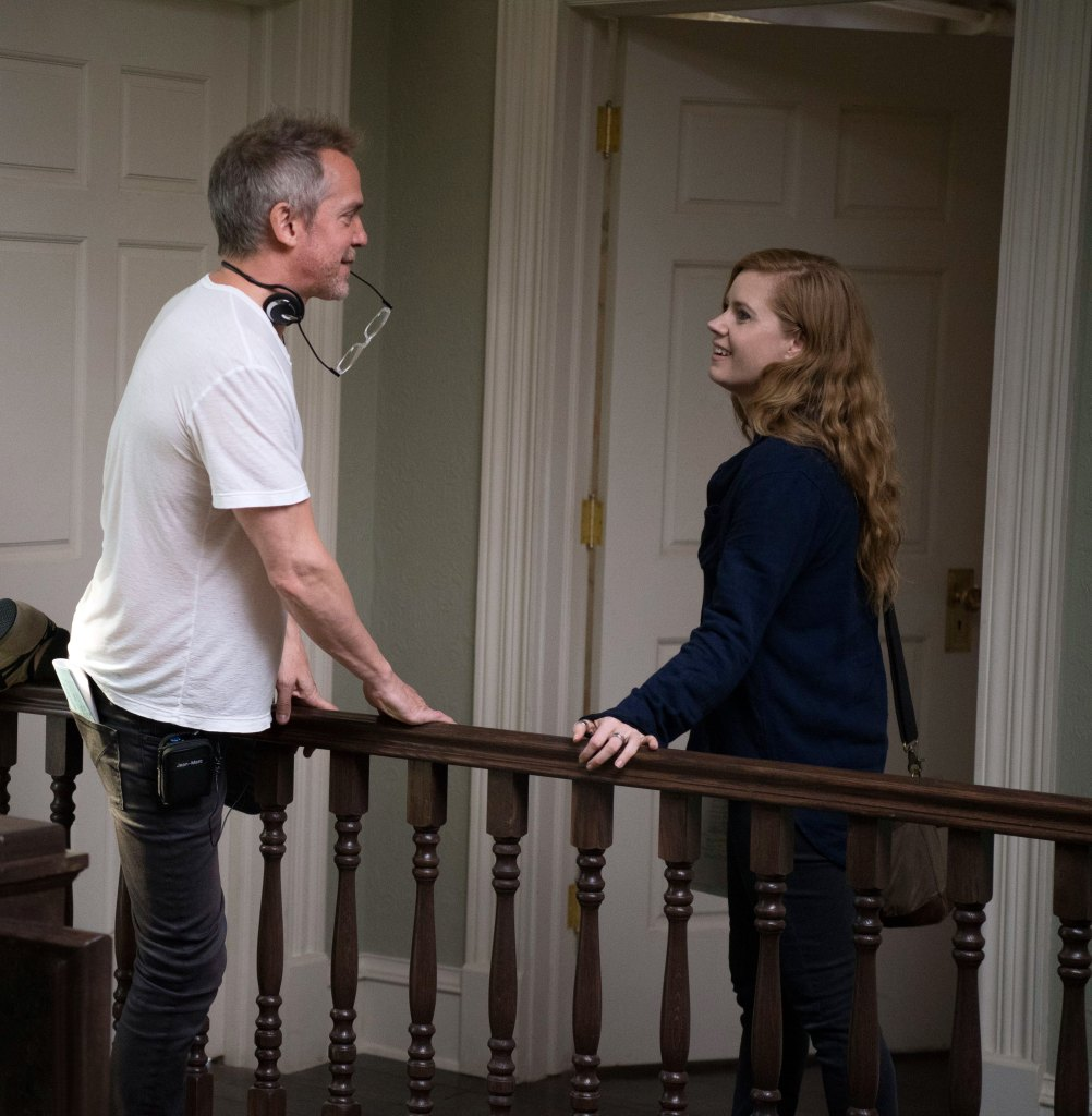 "Jean-Marc Vallee directs Amy Adams on the set of ""Sharp Objects."""