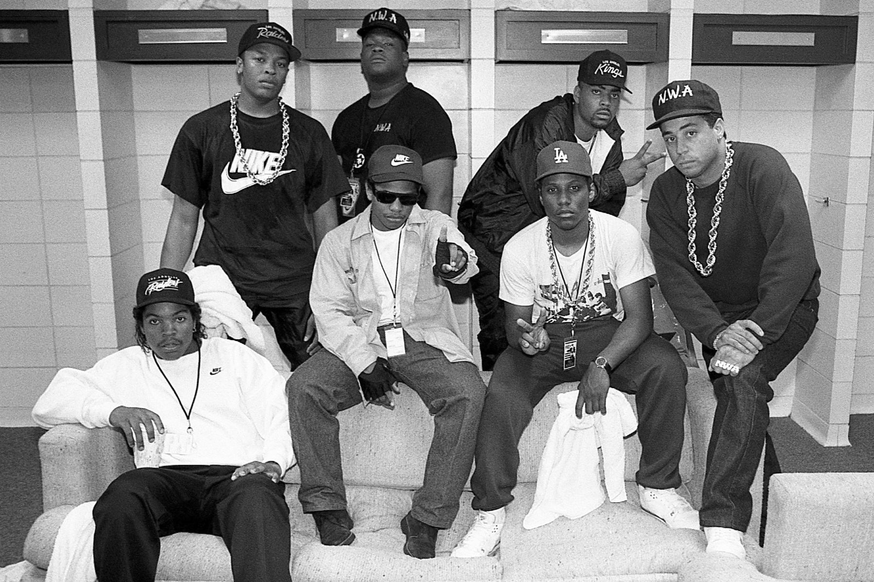 KANSAS CITY - JUNE 1989:  Ice Cube, Eazy-E, MC Ren. DJ Yella (front), and Dr. Dre, rapper Laylaw from Above The Law and rapper The D.O.C. (rear) poses for photos before their performances during N.W.A.'s 'Straight Outta Compton' tour at Kemper Arena in Kansas City, Missouri in June 1989.  (Photo By Raymond Boyd/Getty Images)