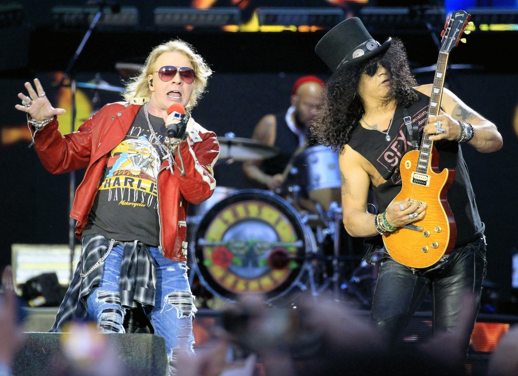 US singers of Guns N´Roses Axl Rose and Slash perform on the stage during a concert at Vicente Calderon stadium, Madrid, Spain, 04 June 2017.Guns N'Roses in concert in Madrid, Spain - 04 Jun 2017