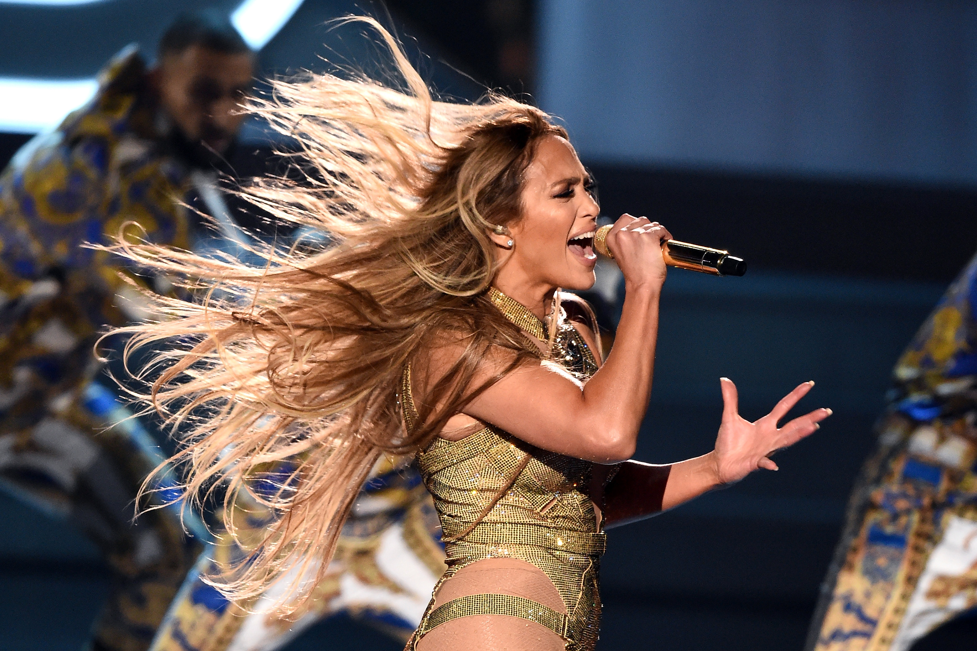 a2d50f4047a3 NEW YORK, NY - AUGUST 20: Jennifer Lopez performs onstage during the 2018  MTV