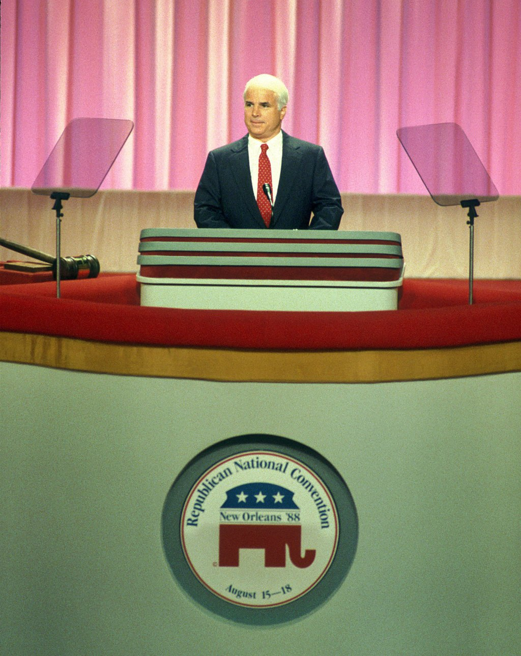 Sen. John McCain of Arizona makes a point during his address to the Republican National Convention in New Orleans on the opening day of the convention at the Superdome.