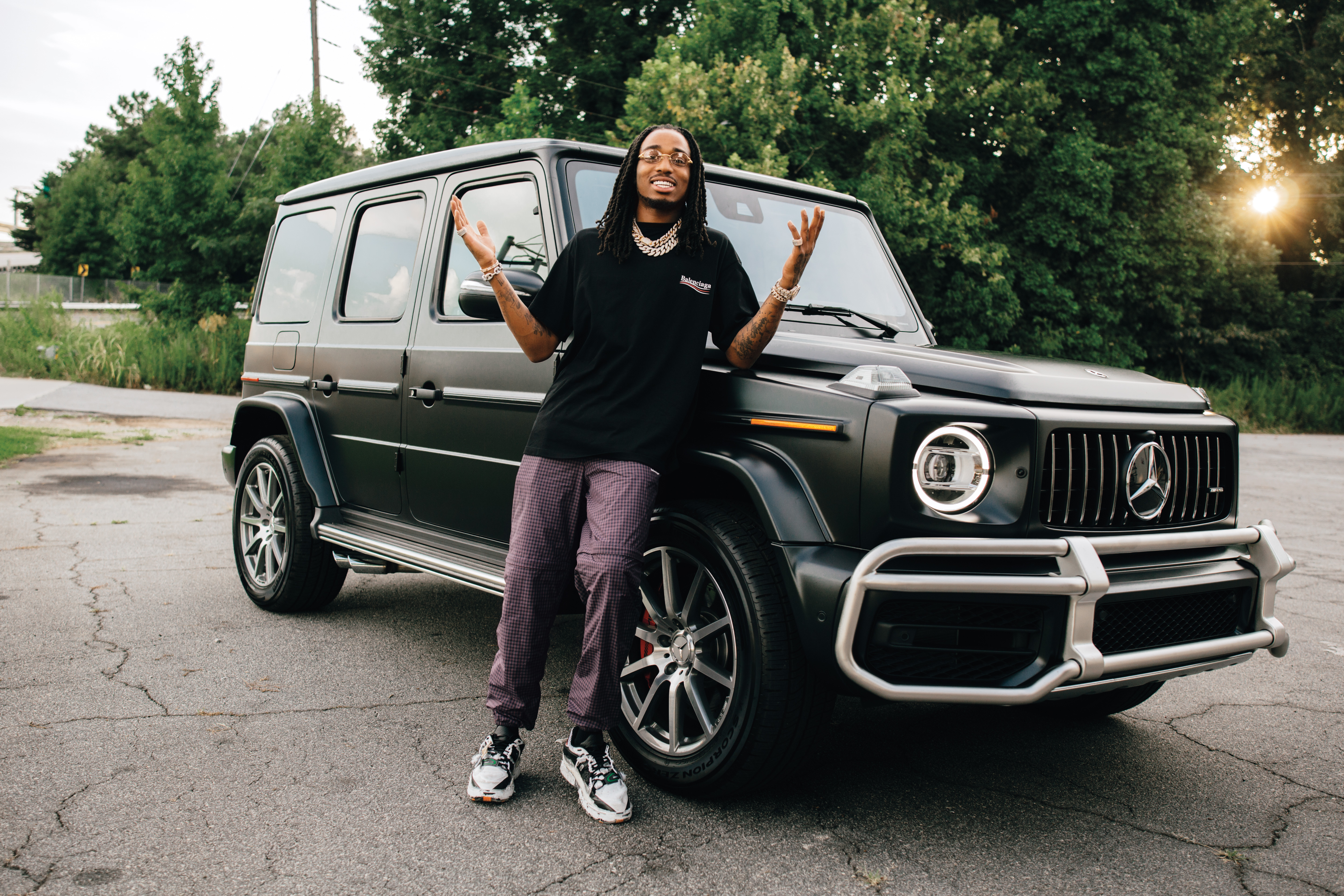 quavo test drives a 2019 mercedes g wagon rolling stone
