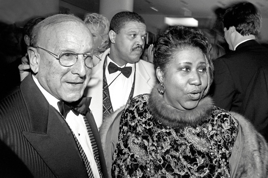 Aretha Franklin and Clive Davis at BMG Records party after Grammy Awards, New York 9 March 1997. (Photo by David Corio/Redferns)