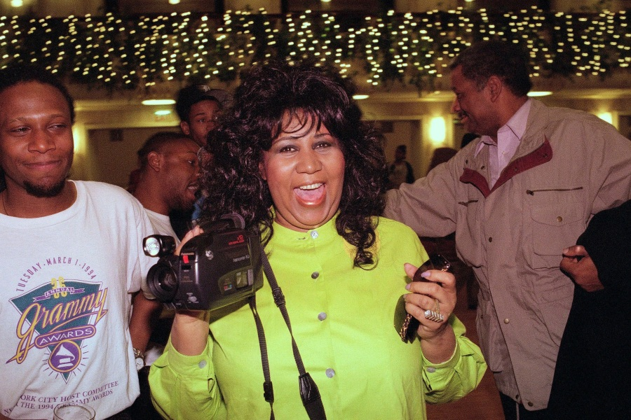 Aretha Franklin plays with a camcorder before a concert rehearsal in New York, . Franklin's Thursday performance is to benefit New York City's Presbyterian Hospital's Sloane Hospital for WomenAretha Franklin 1995, New York, USA