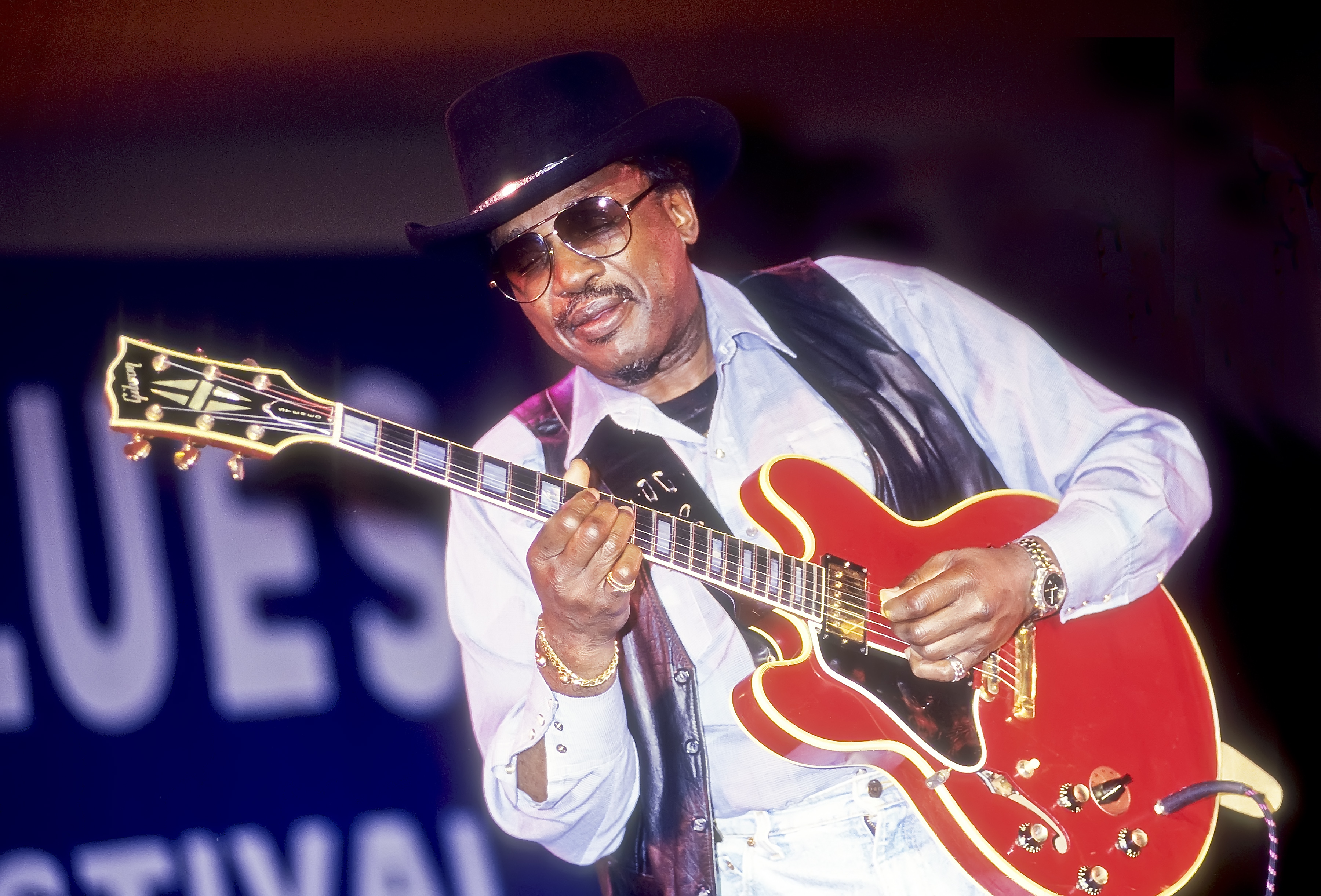 American blues musician Otis Rush plays guitar during a performance at the 12th Annual Chicago Blues Festival on Grant Park's Petrillo Music Shell stage, Chicago, Illinois, June 3, 1995. (Photo by Jack Vartoogian/Getty Images)