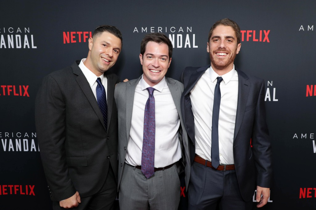 Dan Lagana - Showrunner, Dan Perrault - Creator/Exec. Producer and Tony Yacenda - Creator/Exec. ProducerNetflix 'American Vandal' special premiere screening event and reception, Los Angeles, USA - 14 September 2017