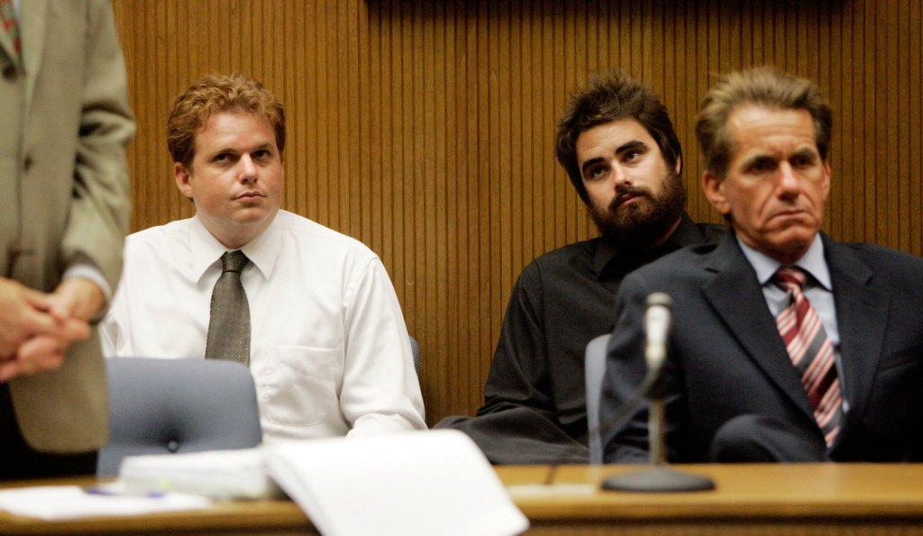 Jul 25, 2006; Del Mar, CA, USA; ZACHARY BUBECK (left) and RYAN McPHERSON received sentences of 180 days in jail for failure to perform community service, and for falsely claiming that they had done the service. The community service sentence was imposed for their production of the ''Bumfights'' video. They are seated behind their attornies, Bubeck's attorney CHARLES SEVILLA (left) and McPherson's attorney JAN RONIS. Mandatory Credit: Photo by Jim Baird/SDU-T/ZUMA Press. (©) Copyright 2006 by SDU-T
