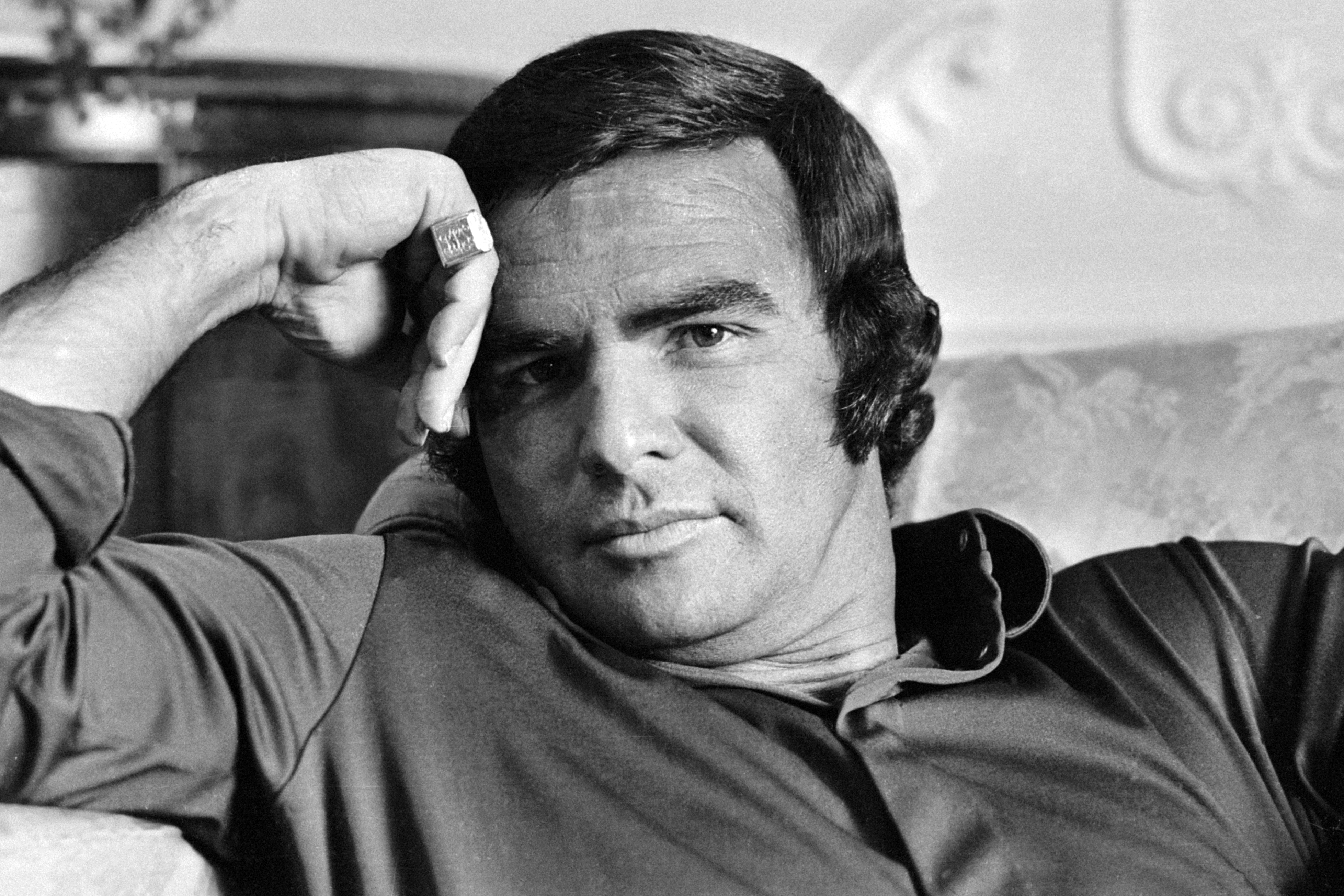 21st September 1972  Film star Burt Reynolds in relaxed mood. (Photo by  Terry 4d6d08014