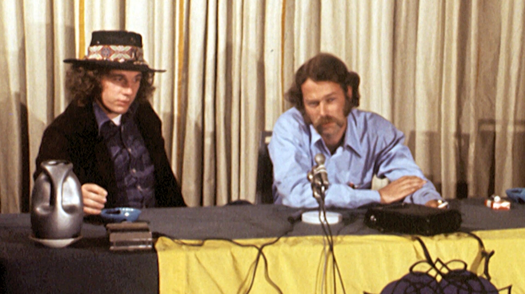 Steve Kapelow on the right at a press conference in relation to the 1971 Celebration of Life Festival in McCrea, Louisiana.
