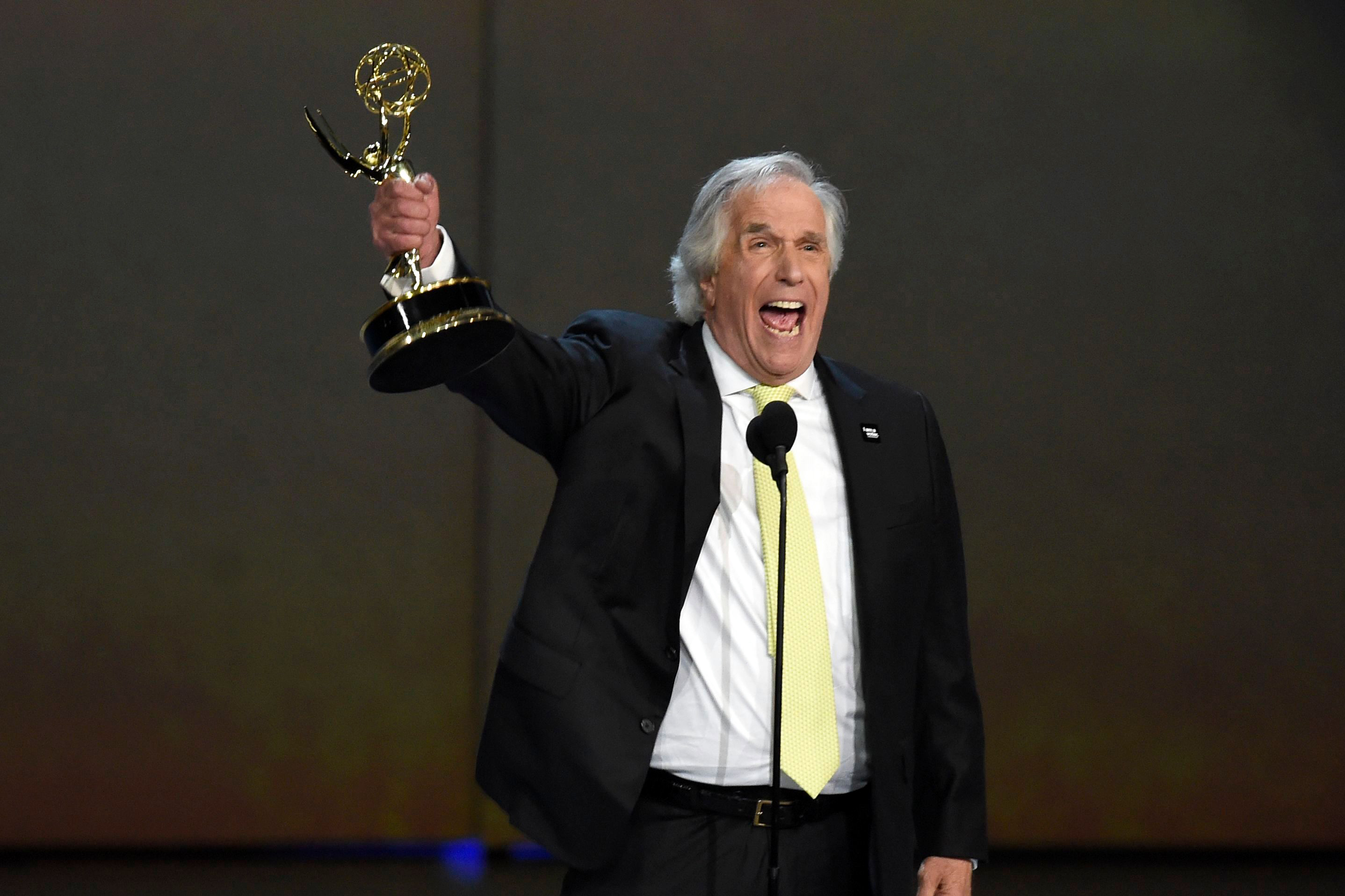 "Henry Winkler accepts the award for outstanding supporting actor in a comedy series for ""Barry"" at the 70th Primetime Emmy Awards, at the Microsoft Theater in Los Angeles2018 Primetime Emmy Awards - Show, Los Angeles, USA - 17 Sep 2018"