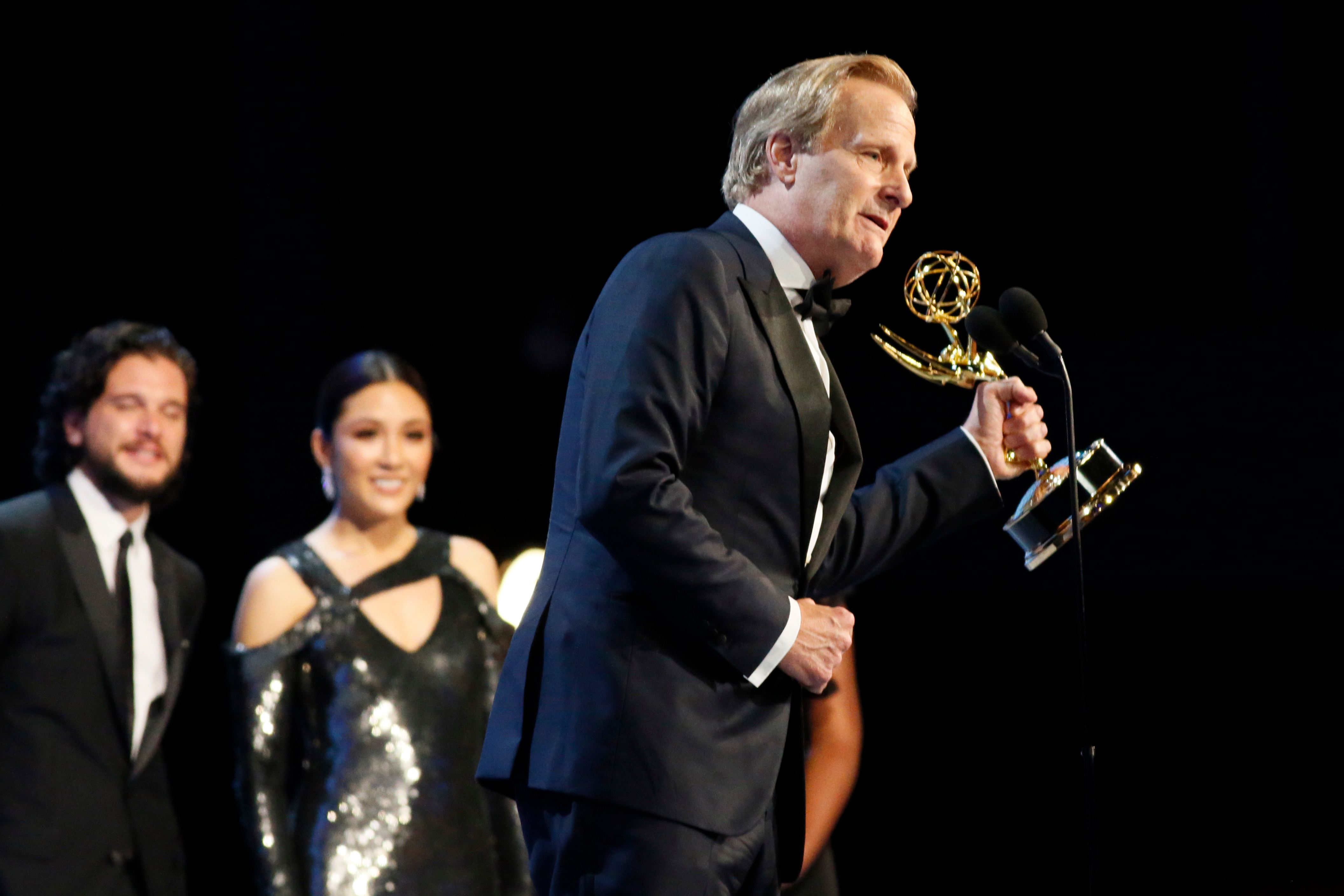"Jeff Daniels accepts the award for outstanding supporting actor in a limited series, movie or dramatic special for ""Godless"",70th Primetime Emmy Awards - Audience, Los Angeles, USA - 17 Sep 2018"