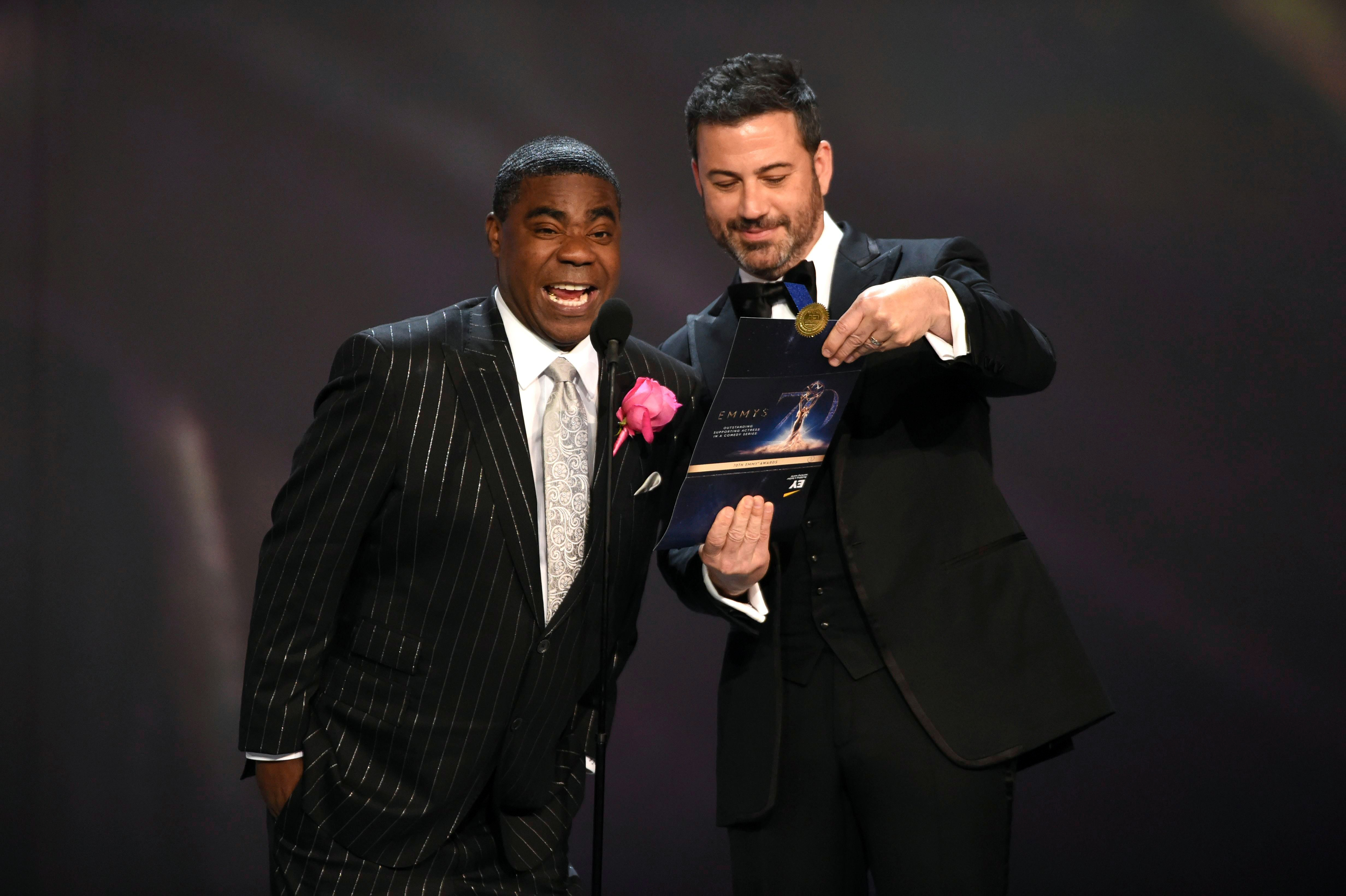 Tracy Morgan, Jimmy Kimmel. Tracy Morgan, left, and Jimmy Kimmel present the award for outstanding supporting actress in a comedy series at the 70th Primetime Emmy Awards, at the Microsoft Theater in Los Angeles70th Primetime Emmy Awards - Show, Los Angeles, USA - 17 Sep 2018