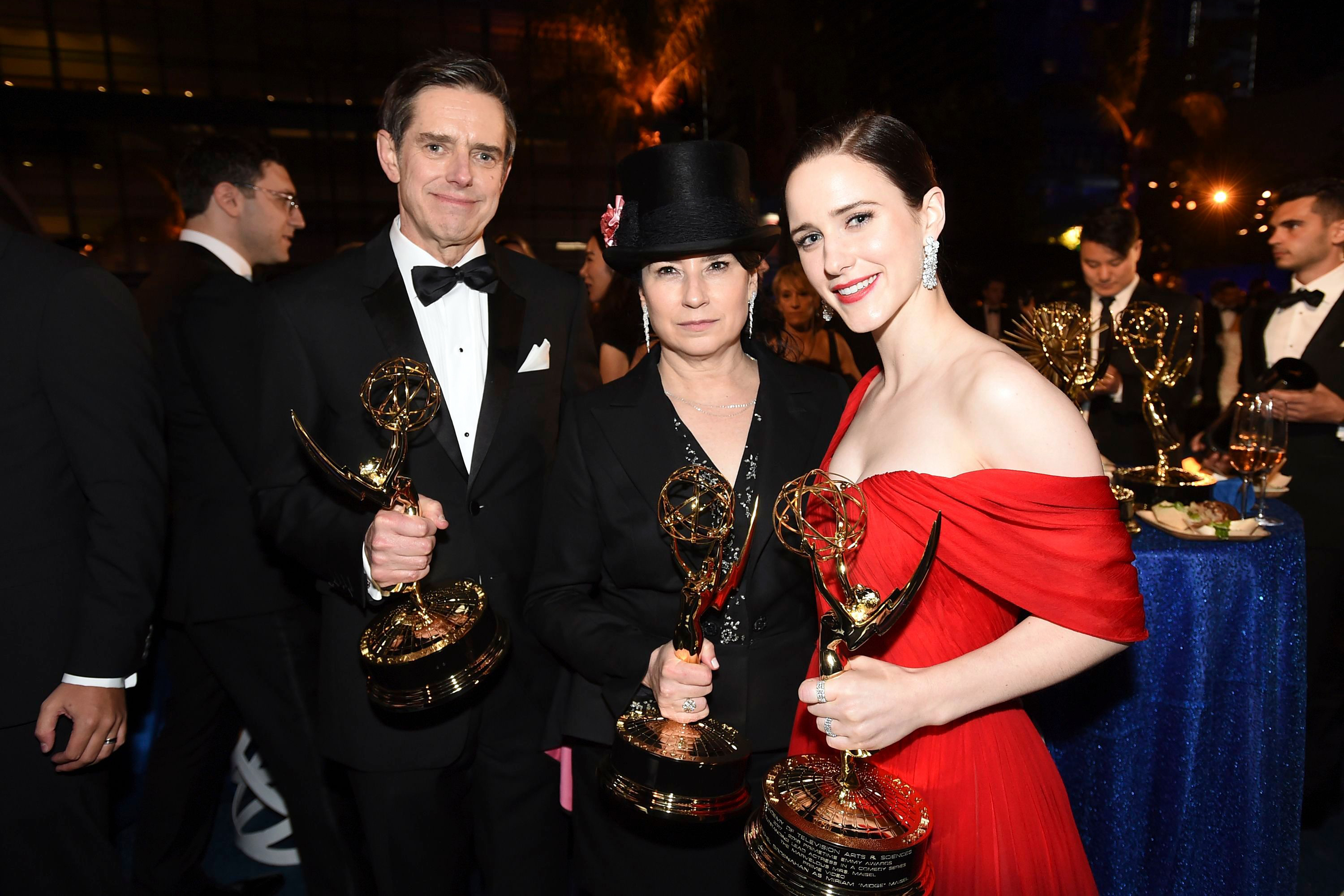 "Daniel Palladino, Amy Sherman-Palladino, Rachel Brosnahan. Daniel Palladino, and Amy Sherman-Palladino, winners of the award for outstanding comedy series for ""The Marvelous Mrs. Maisel"", and Rachel Brosnahan, winner of the award for outstanding lead actress in a comedy series for ""The Marvelous Mrs. Maisel,"" attend the Governors Ball for the 70th Primetime Emmy Awards, at the Microsoft Theater in Los Angeles70th Primetime Emmy Awards - Governors Ball, Los Angeles, USA - 17 Sep 2018"