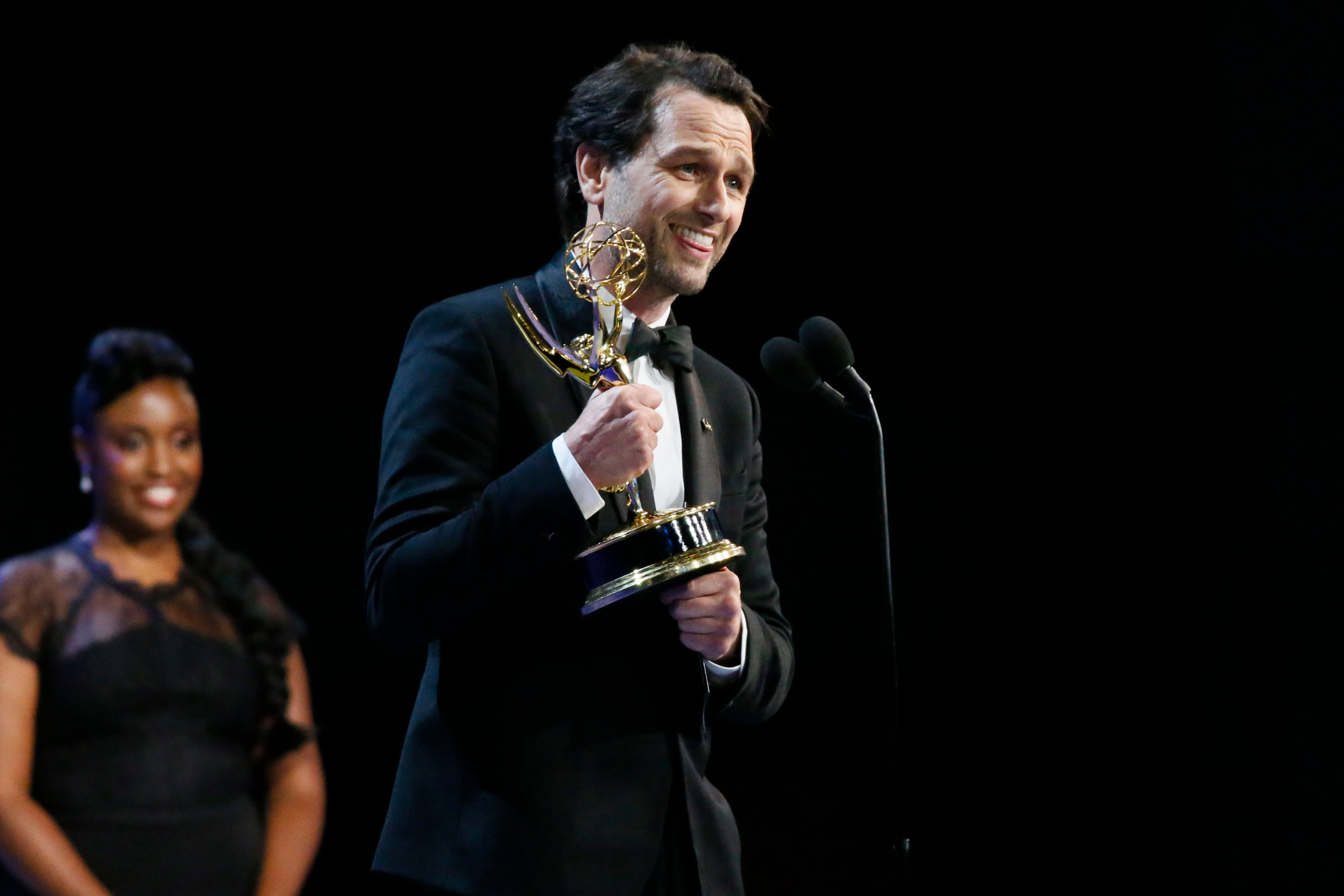 "Matthew Rhys accepts the award for outstanding lead actor in a drama series for ""The Americans"" at the 70th Primetime Emmy Awards, at the Microsoft Theater in Los Angeles70th Primetime Emmy Awards - Show, Los Angeles, USA - 17 Sep 2018"