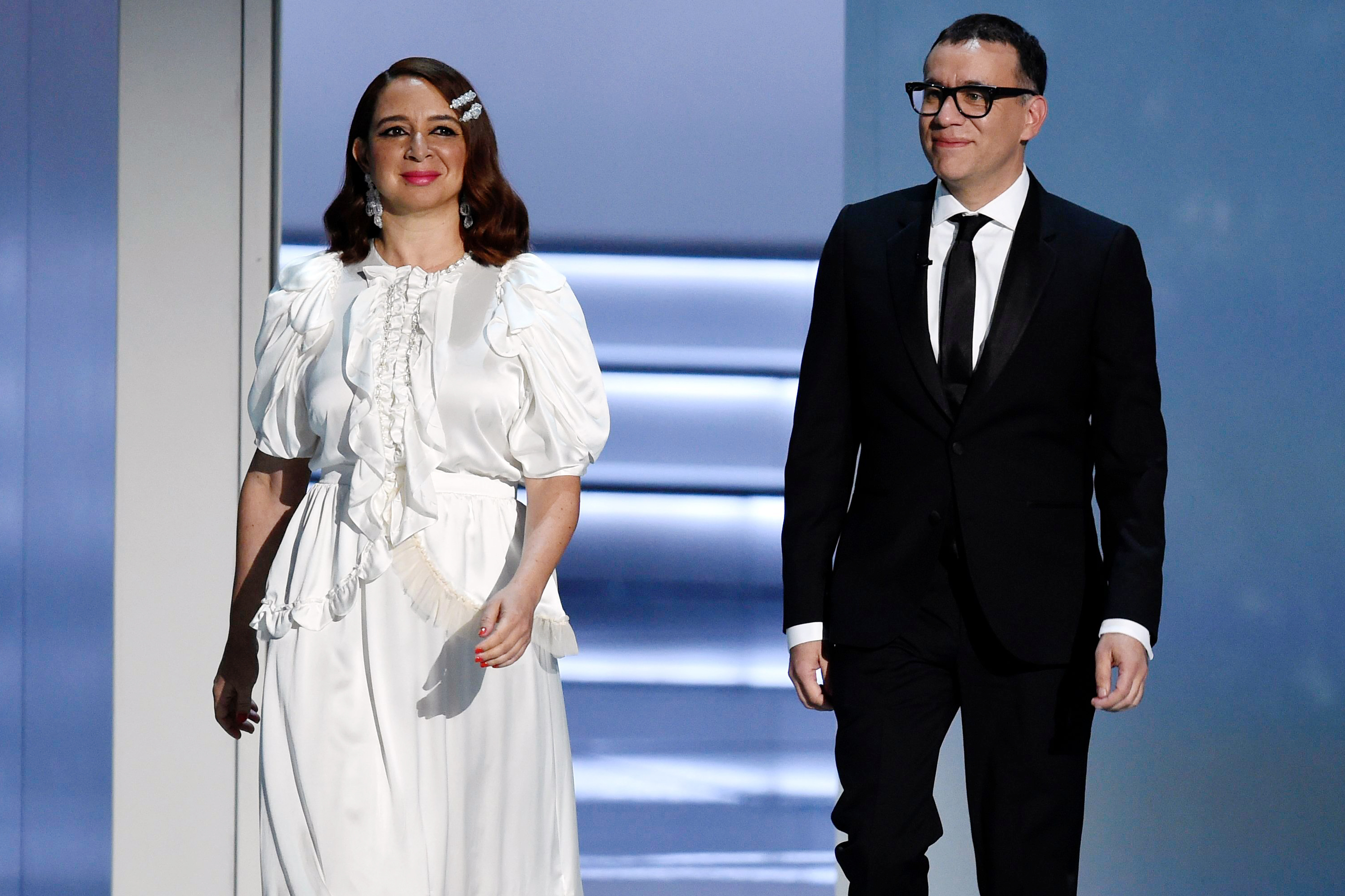 Fred Armisen, Maya Rudolph. Maya Rudolph, left, and Fred Armisen appear on stage at the 70th Primetime Emmy Awards, at the Microsoft Theater in Los Angeles2018 Primetime Emmy Awards - Show, Los Angeles, USA - 17 Sep 2018