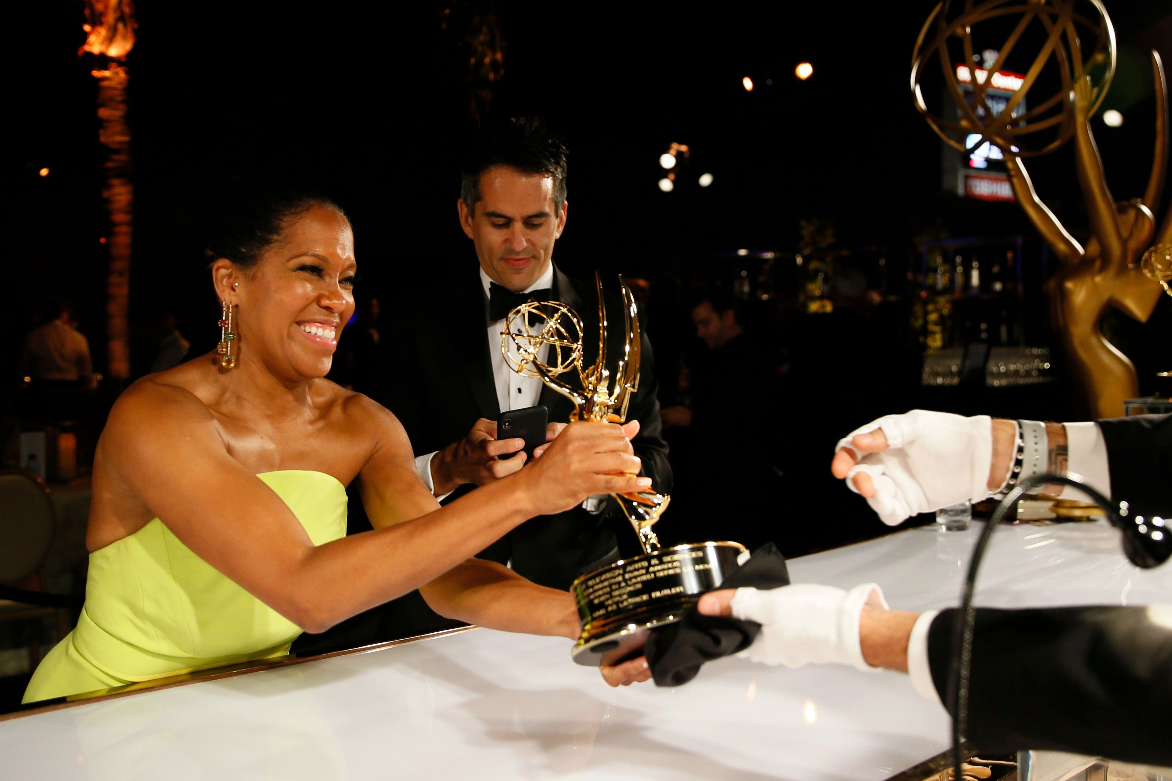 """Regina King, winner of the award for outstanding lead actress in a limited series, movie or dramatic special for """"Seven Seconds"""", at the Governors Ball Winners Circle at the 70th Primetime Emmy Awards, at the Microsoft Theater in Los Angeles70th Primetime Emmy Awards - Governors Ball Winners Circle, Los Angeles, USA - 17 Sep 2018"""