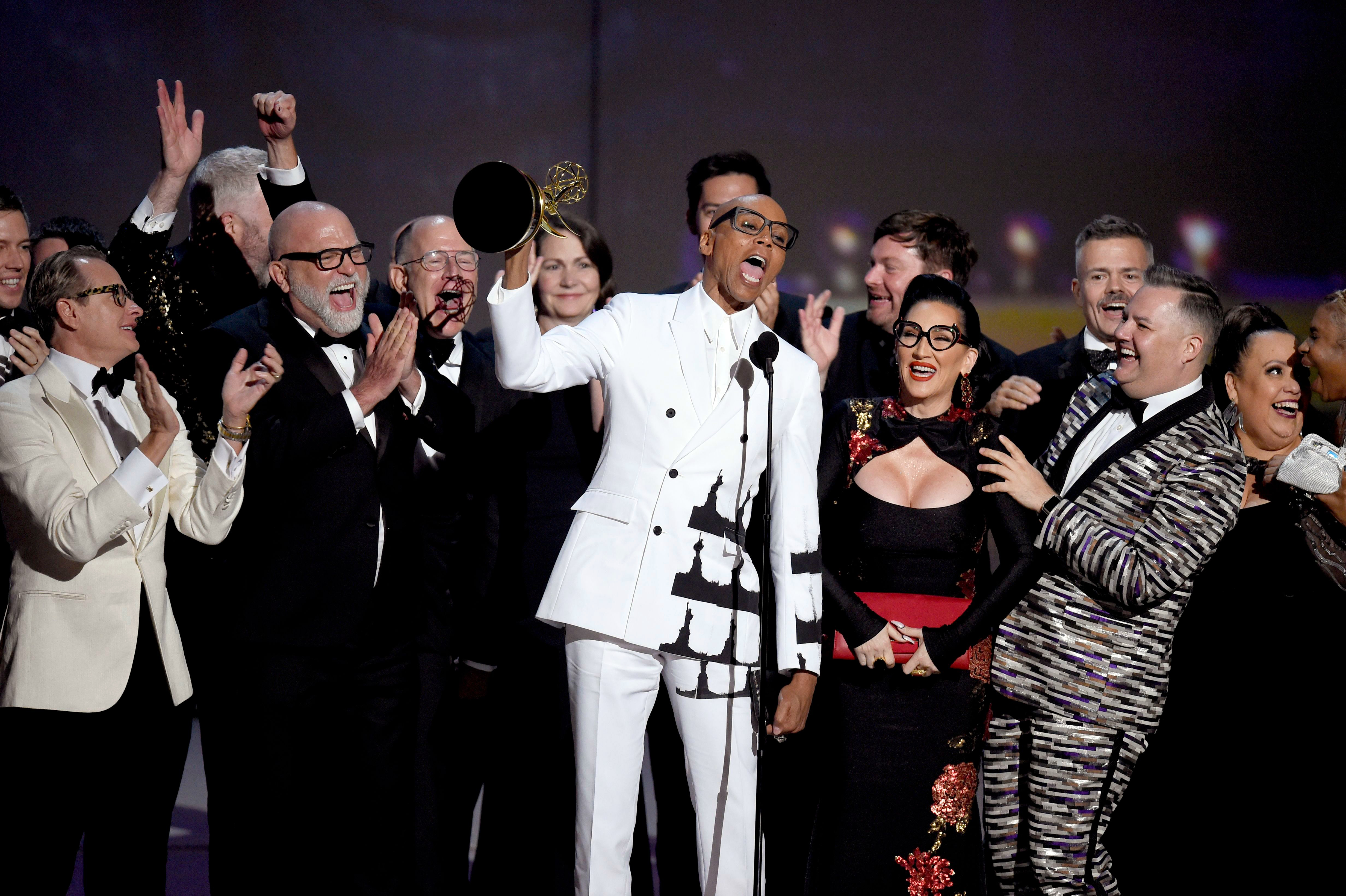 "RuPaul Charles, front center, and the team from ""RuPaul's Drag Race"" accept the award for outstanding reality/competition program at the 70th Primetime Emmy Awards, at the Microsoft Theater in Los Angeles2018 Primetime Emmy Awards - Show, Los Angeles, USA - 17 Sep 2018"