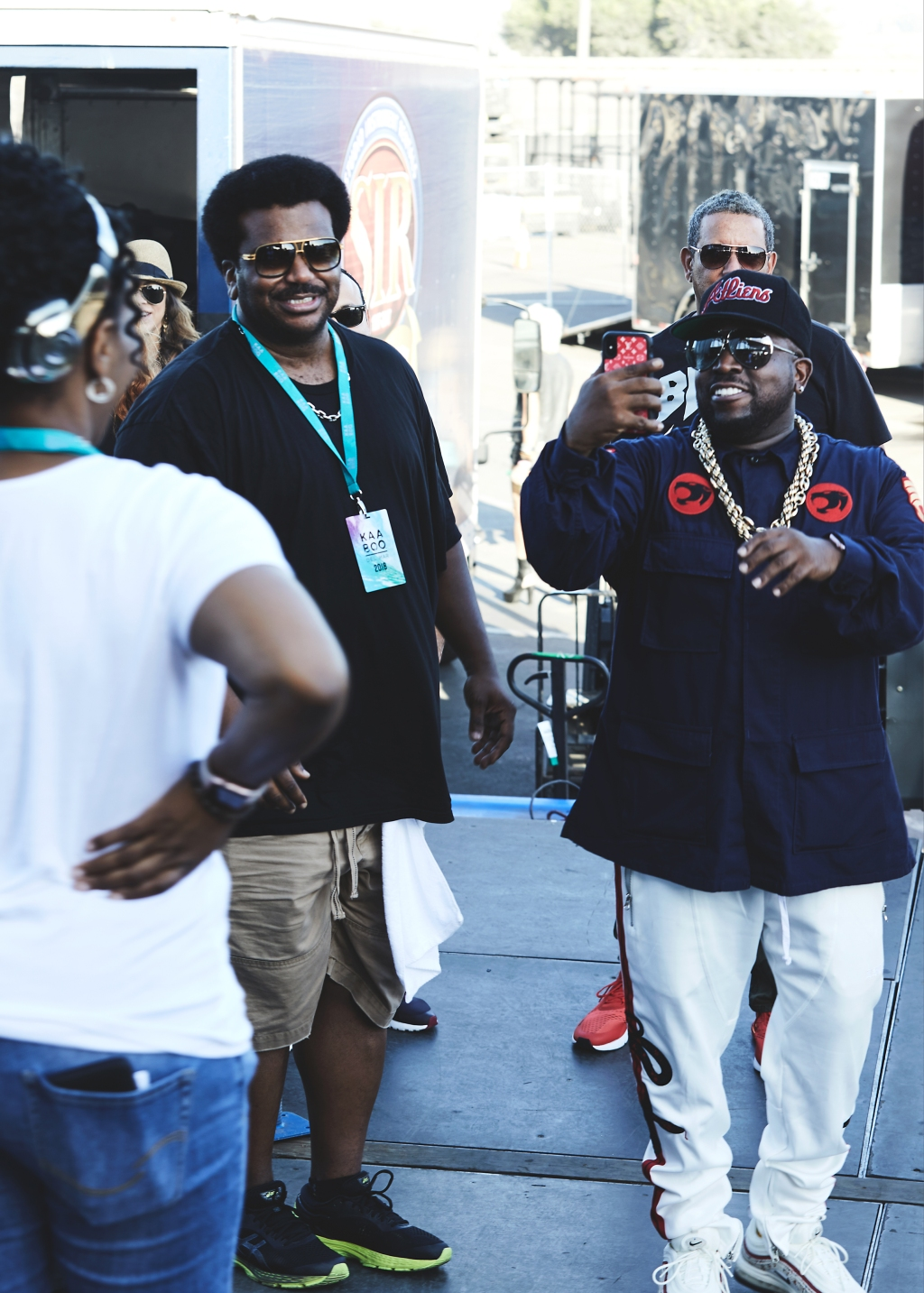 Craig Robinson and Big Boi hang out backstageat the 2018 Kaaboo Del Mar Festival at Del Mar Fairgrounds.