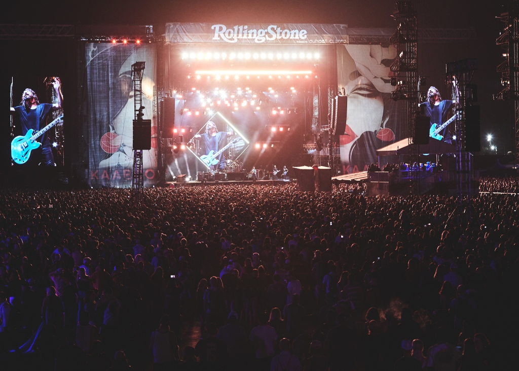 The Foo Fighters performs on the Rolling Stone Sunset Cliffs stageat the 2018 Kaaboo Del Mar Festival.