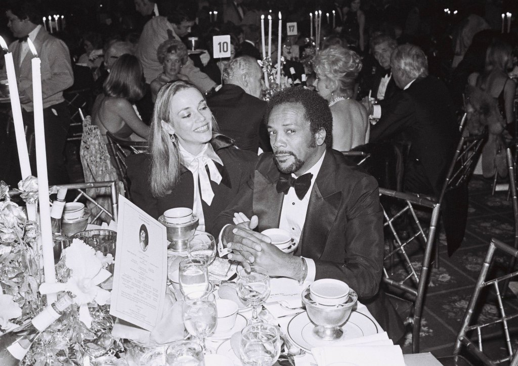 Quincy Jones with his then wife, Peggy Lipton, at the 1980 Thalians Charity Ball.