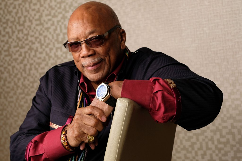 "Music producer Quincy Jones, the subject of the Netflix documentary film ""Quincy,"" posing for a portrait at the Shangri-La Hotel during the Toronto Film Festival."