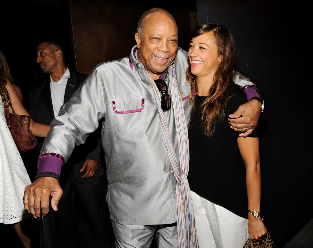 "Quincy Jones, left, a producer of the documentary film ""Keep On Keepin' On,"" poses with his daughter Rashida Jones at the premiere of the film at Landmark Theatres, in Los Angeles in 2014."
