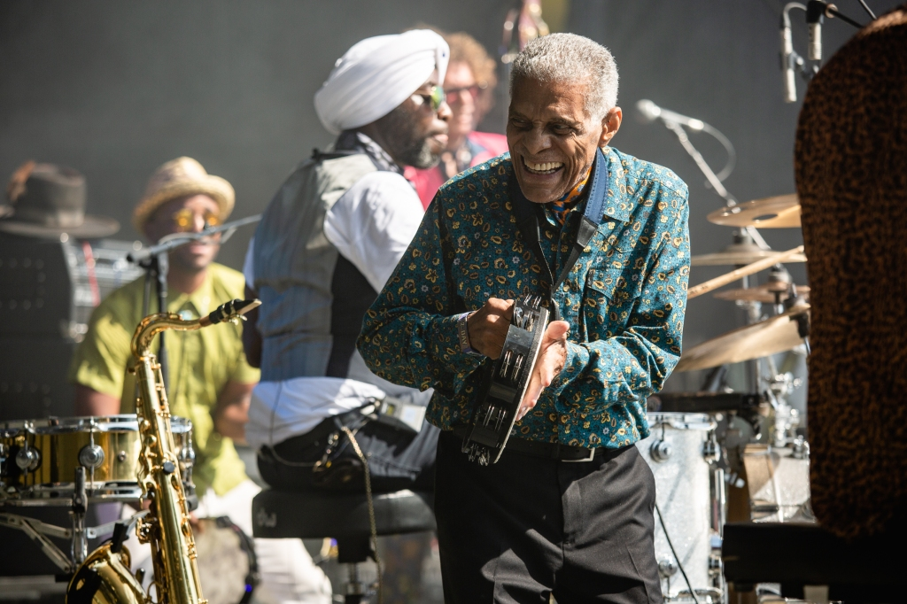 Charlie Gabriel of Preservation Hall Jazz Band keeps a smile on his face in the afternoon heat.