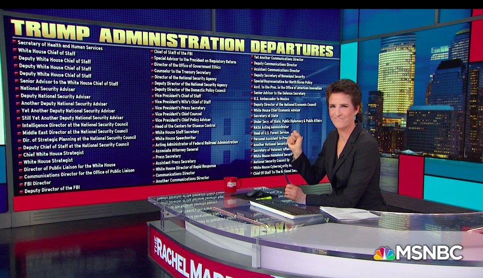 Rachel Maddow in front of a list entitled Trump Administration Departures