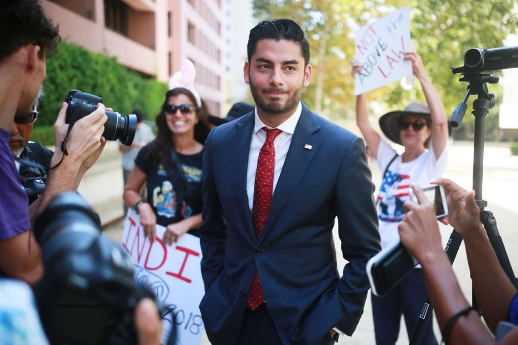 Ammar Campa-Najjar, who is running against Congressman Duncan Hunter, speaks to reporters outside the San Diego Federal Courthouse during Congressman Hunter's arraignment hearing on Thursday, Aug. 23, 2018 in San Diego, Calif. Photo: Sandy Huffaker/Getty Images
