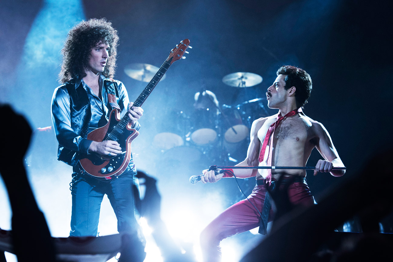 "Gwilym Lee (Brian May) and Rami Malek (Freddie Mercury) in ""Bohemian Rhapsody"", 2018."