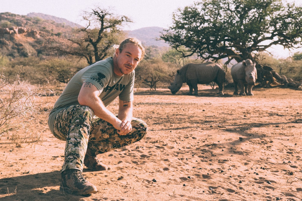 """""""This is as close as the rangers allowed me to get to the rhinos since they were standing up"""" – Diplo"""