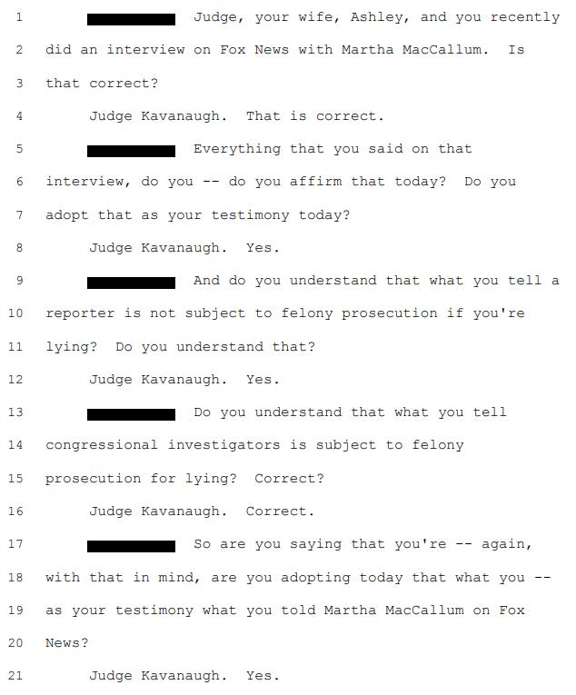 Brett Kavanaugh's Fox News Interview Is Now Testimony Under Oath