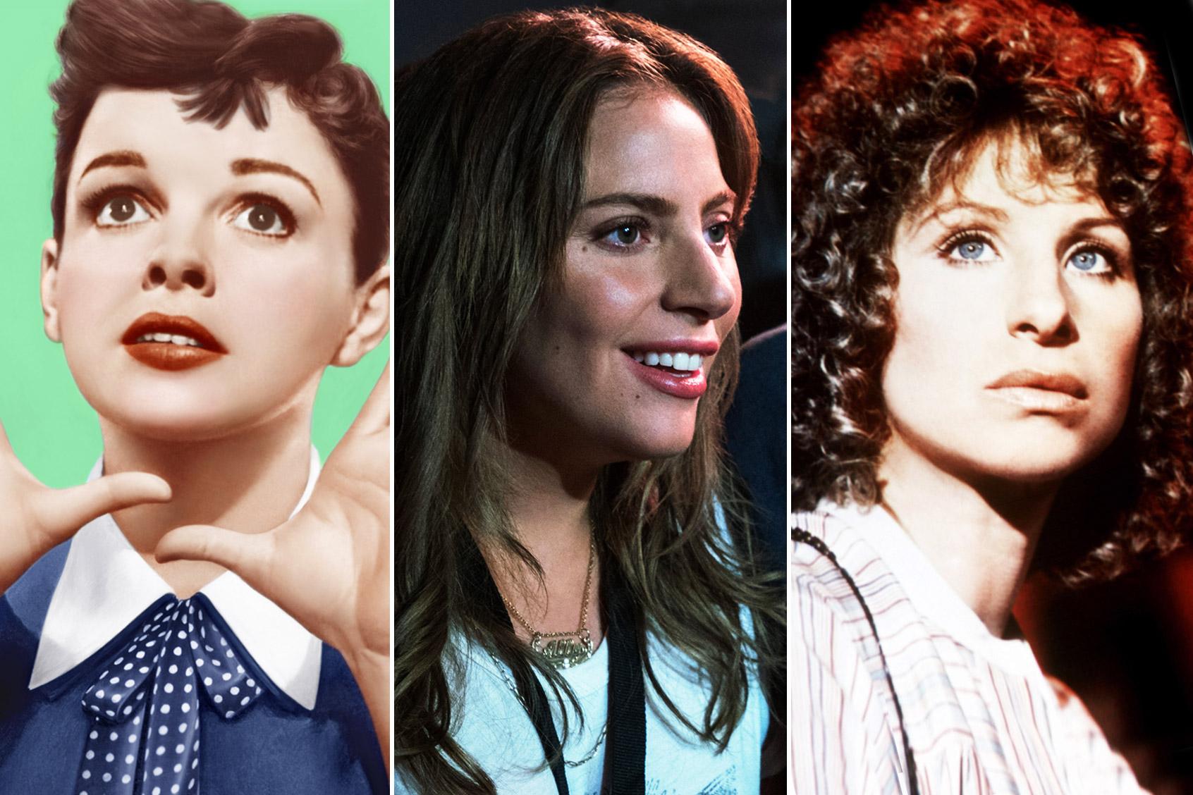 Judy Garland, Lady Gaga & Barbra Streisand in 'A Star Is Born'