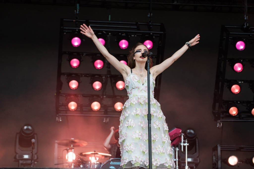 AUSTIN, TX - OCTOBER 06: Lauren Mayberry of CHVRCHES performs live on stage during Austin City Limits Festival at Zilker Park on October 6, 2018 in Austin, Texas. (Photo by Jim Bennett/FilmMagic)
