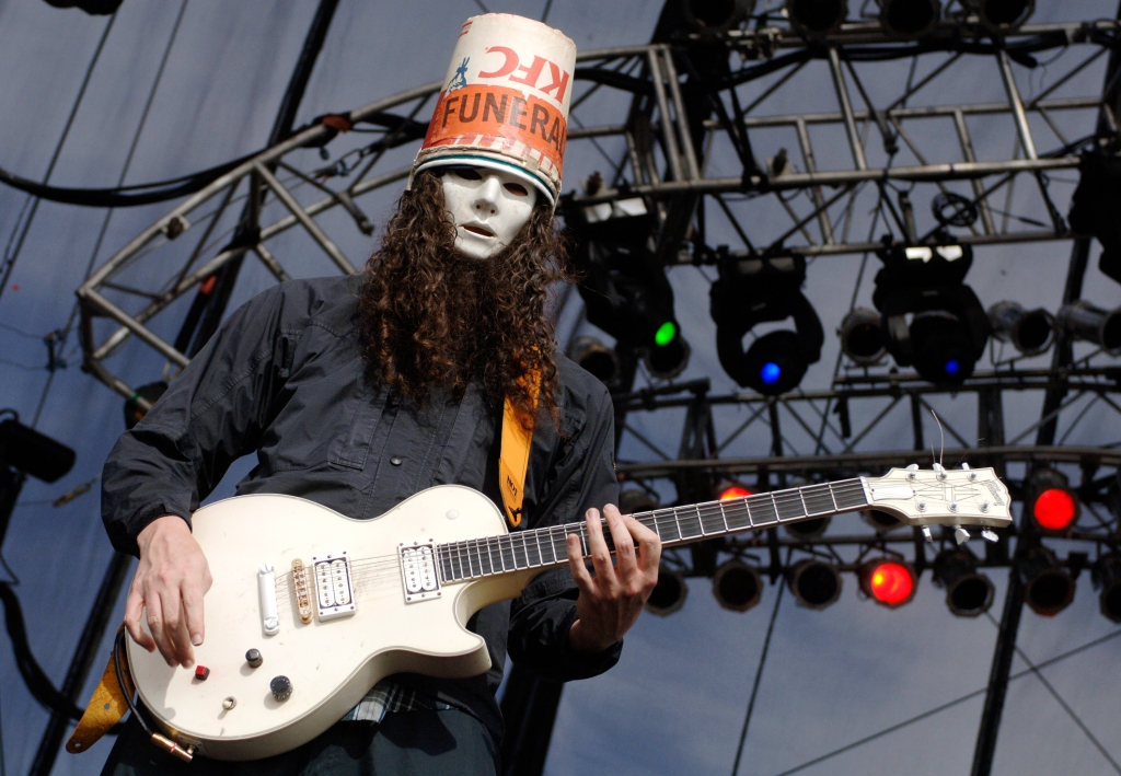 Buckethead and Praxis perform as part of Vegoose 2006 at Sam Boyd Stadium's Star Nursery Field in Las Vegas, Nevada. (Photo by Tim Mosenfelder/Corbis via Getty Images)