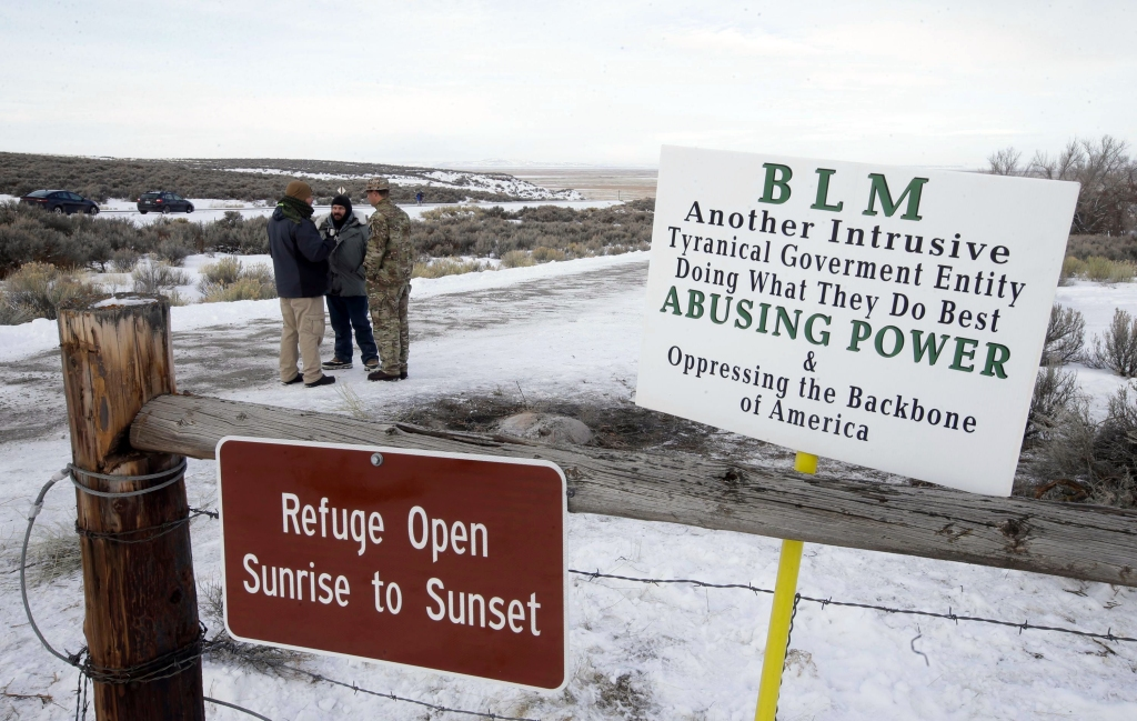 "Members of the group occupying the Malheur National Wildlife Refuge headquarters stand guard, near Burns, Ore. The group calls itself Citizens for Constitutional Freedom and has sent a ""demand for redress"" to local, state and federal officials. The armed anti-government group took over the remote national wildlife refuge in Oregon as part of a decades-long fight over public lands in the WestRanching Standoff, Burns, USA"