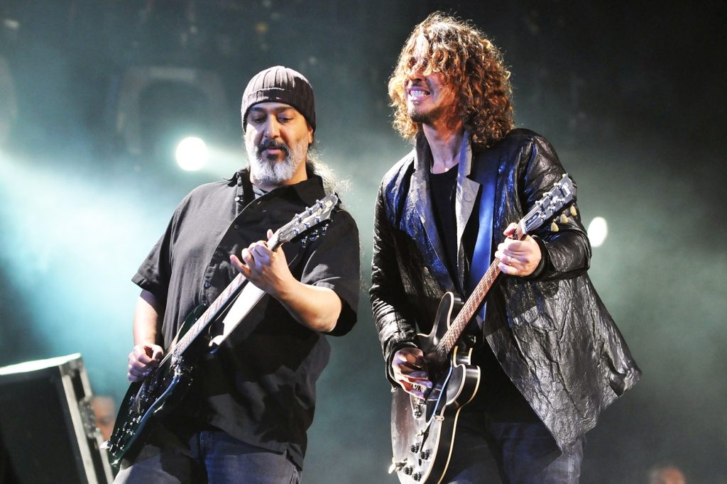 Kim Thayil and Chris Cornell of Soundgarden perform on July 13, 2012 in London.