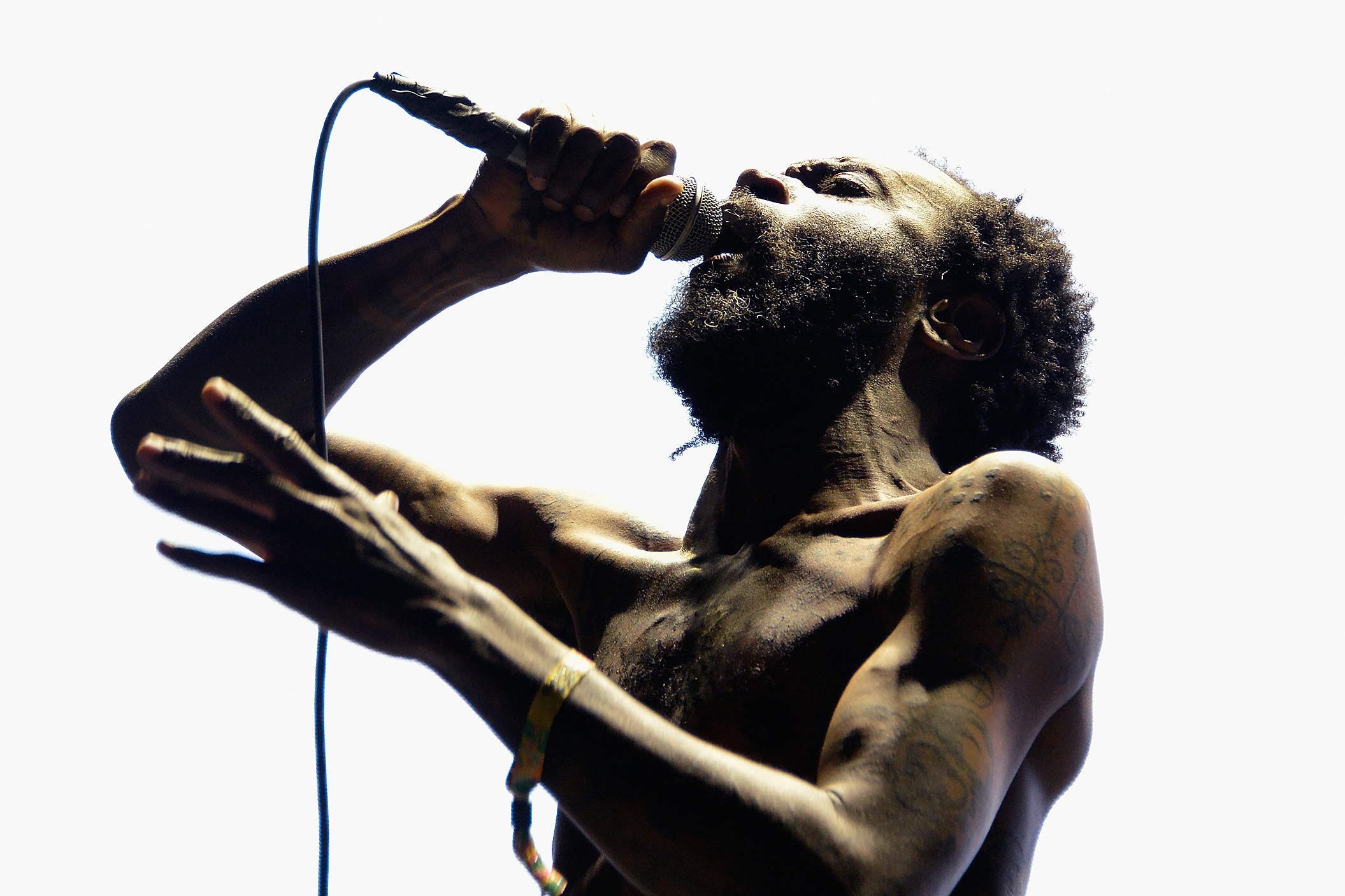 LAKE PERRIS, CA - OCTOBER 14:  MC Ride of Death Grips performs at the 2018 Desert Daze Festival on October 14, 2018 in Lake Perris, California.  (Photo by Chelsea Guglielmino/Getty Images)