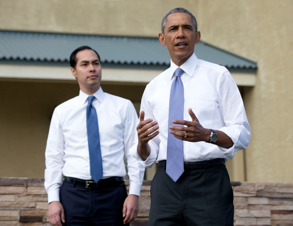 Barack Obama, Julian Castro President Barack Obama, joined by Secretary of Housing and Urban Development Julian Castro, left, speaks outside a home in a housing development, in PhoenixObama, Phoenix, USA
