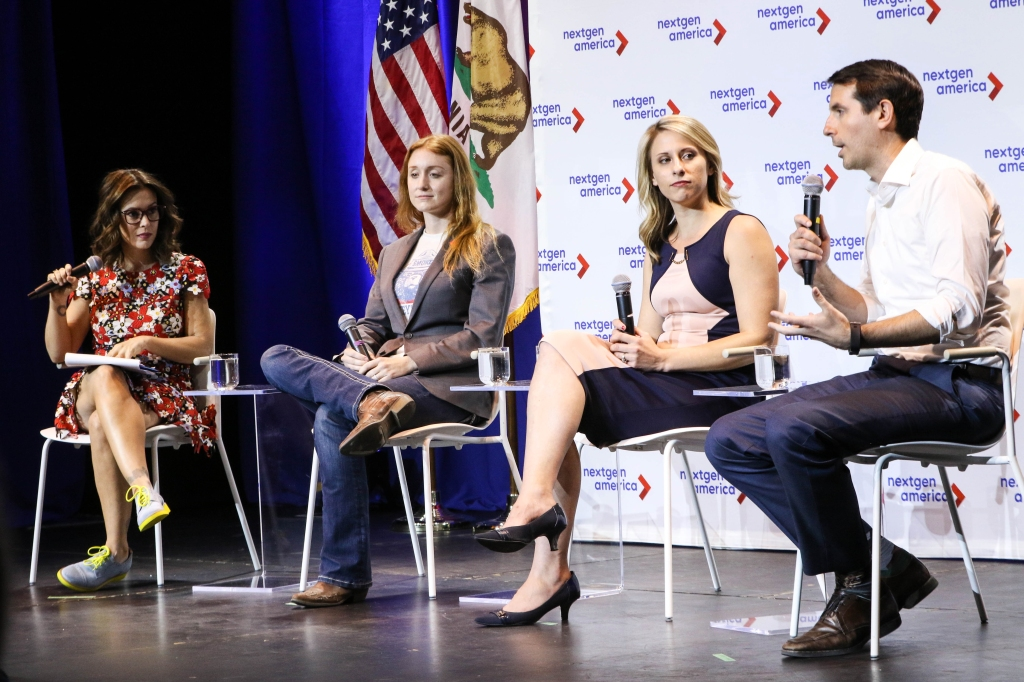 SANTA CLARITA, CA - MAY 08: (L-R) Actress Alyssa Milano and Politicians Jess Phoenix; Katie Hill and Bryan Caforio attend the 25th Congressional District Democratic Candidate Debate Presented by NextGen America at The Canyon on May 8, 2018 in Santa Clarita, California. (Photo by Robin L Marshall/Getty Images)