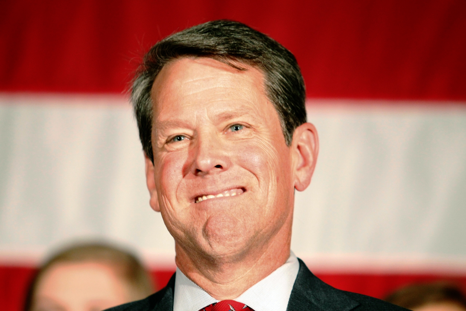 Georgia gubernatorial nominee Brian Kemp smiles as he participates in a Georgia Republican Party Unity Rally in Peachtree Corners, Georgia, USA, 26 July 2018. The event comes on the heels of a bitter GOP gubernatorial runoff election in which Brian Kemp defeated Casey Cagle.Georgia Republican Party Unity Rally, Peachtree Corners, USA - 26 Jul 2018