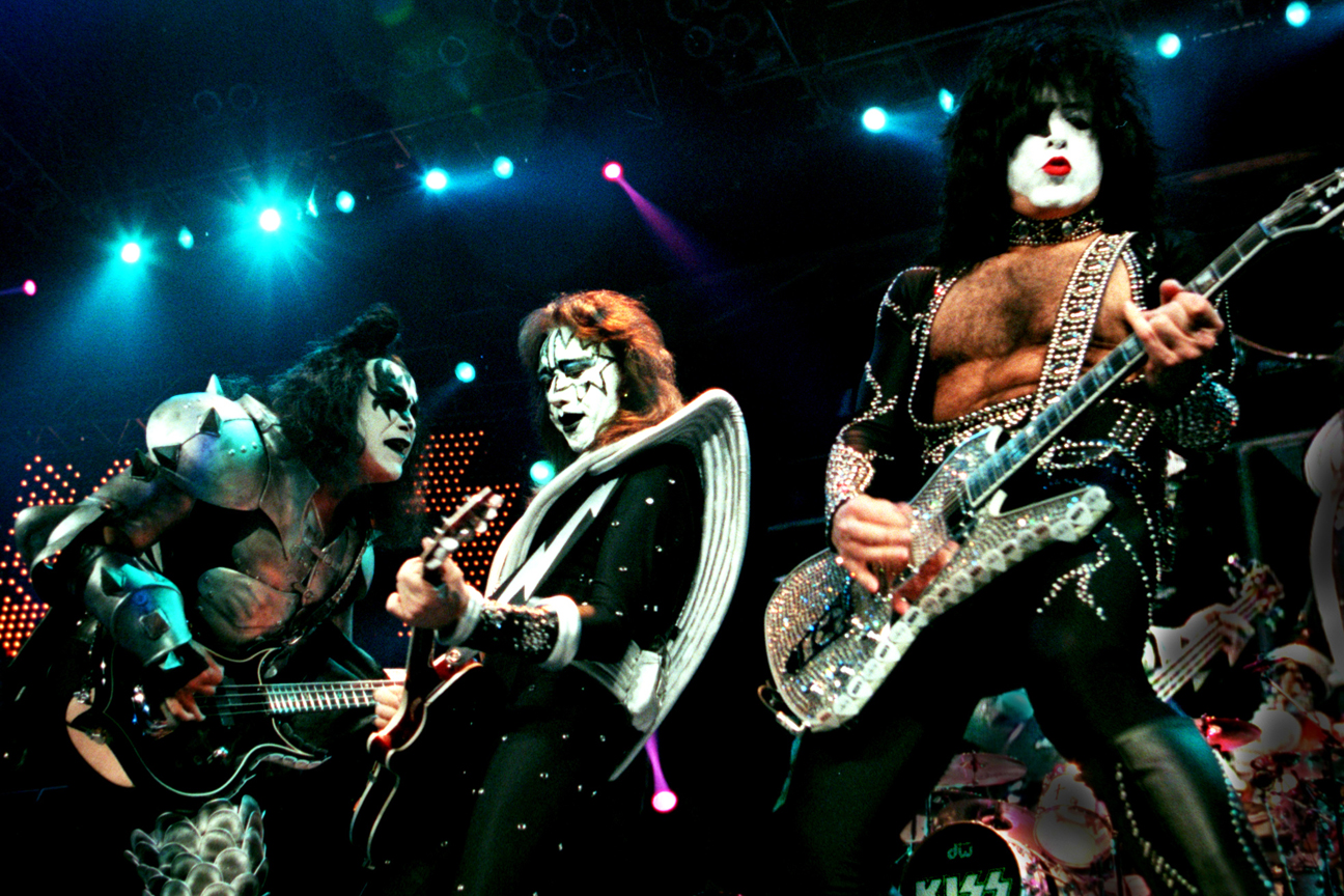 Gene Simmons, Ace Frehley and Paul Stanley perform as KISS.