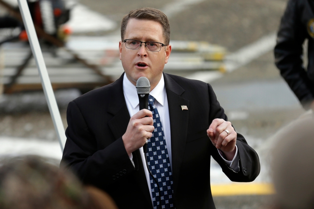 Rep. Matt Shea, R-Spokane, speaks at a gun-rights rally, at the Capitol in Olympia, Wash. Gun owners and other advocates gathered to hear from legislators and other speakers and to visit lawmakers in their officesGun Rights Rally, Olympia, USA - 13 Jan 2017